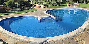 Kidney shaped luxury swimming pool