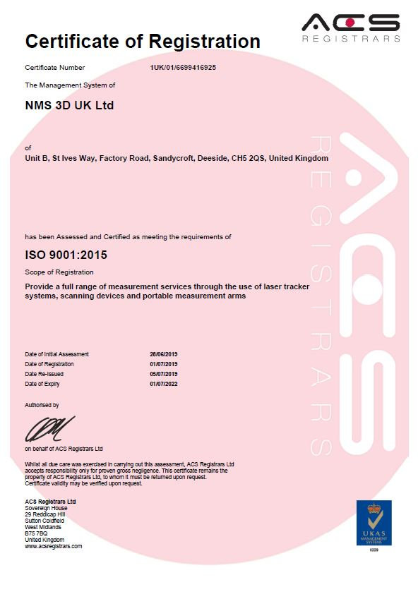 NMS 3D UK ISO9001 Acreditation 1st July