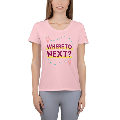 Where to Next? All-Over Print Women's Athletic T-shirt