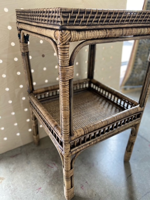 The Clara Rattan Side Table- Griss Brown