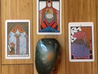Three of Pentacles, The Chariot and The Hermit
