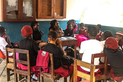 Mina Bilkis facilitating a sexual and reproductive health and rights workshop at Girl Up Vine Club Sierra Leone