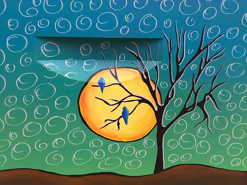 Bluebirds and Moon