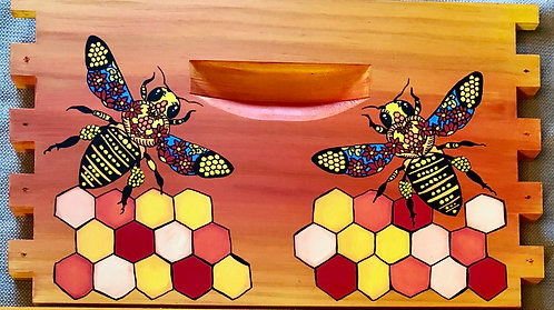 Stained Glass Bees with Honeycomb