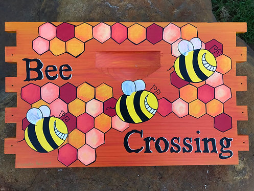 IN STOCK: Bee Crossing Sign in Orange/Yellow