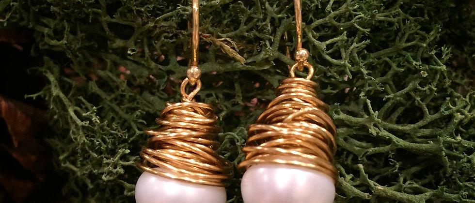 Wire Wrapped 10-11mm Pearl Earrings