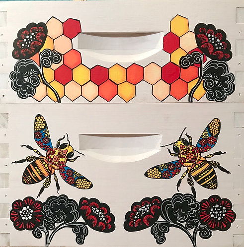 Stained Glass Bee/Flower with Stained Glass Flowers Comb Set