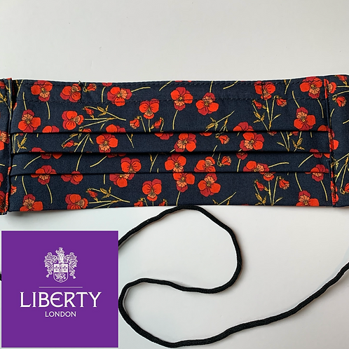 Liberty of London Pleated Face Mask in Red Violas on Black