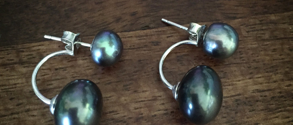 Over and Under Peacock Pearl Earrings