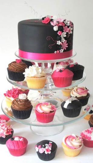 pink and black cupcake cake