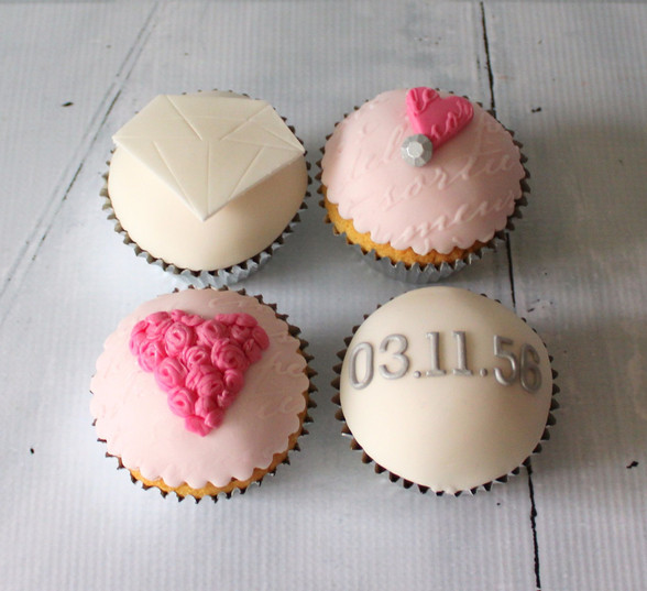 Pink Save the Date Cupcakes