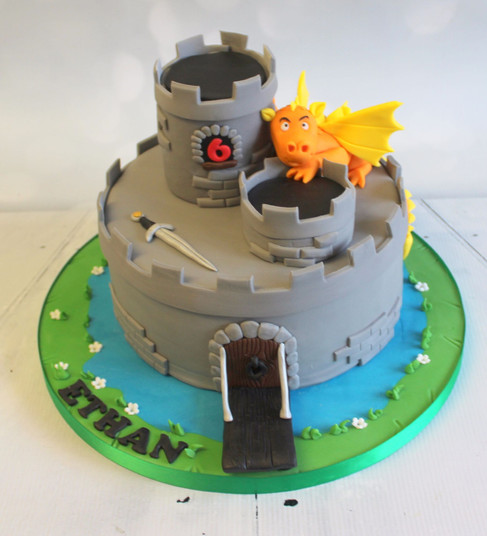 Castle Cake with dragon