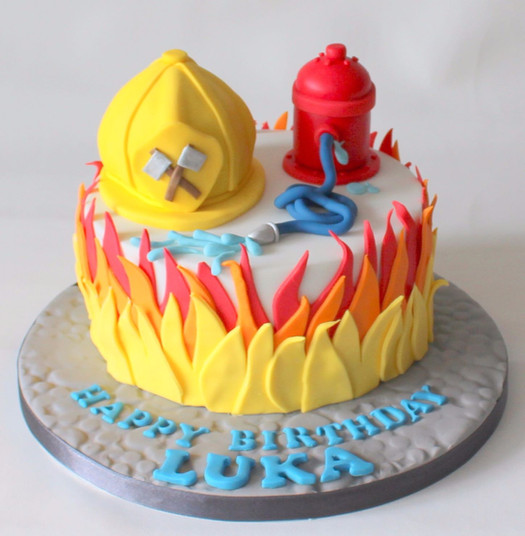 Fire Man Cake with Helmet
