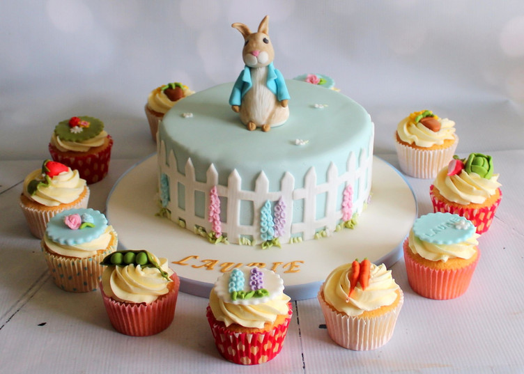 Baby Peter Rabbit Cake And Cupcakes.jpg