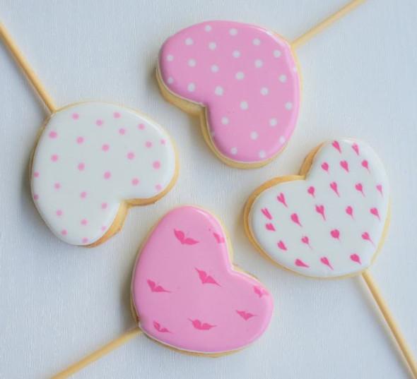 Pink Heart Biscuit Pops