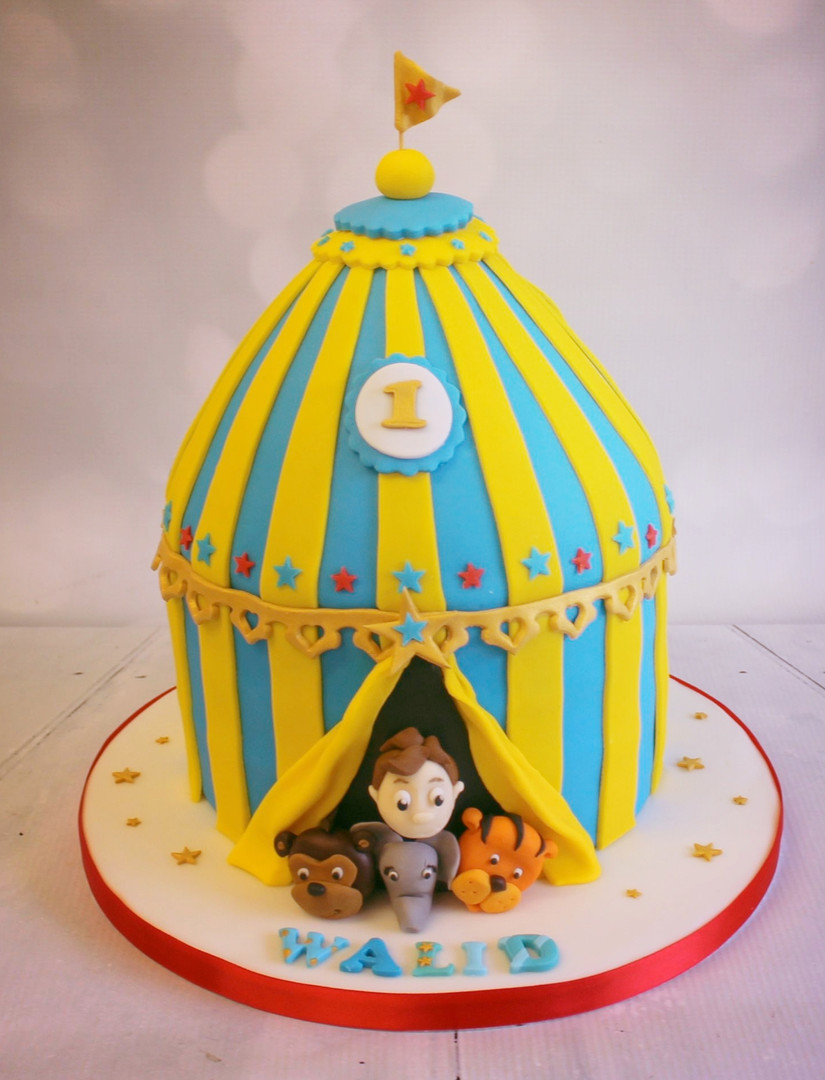 Circus cake with animal figures