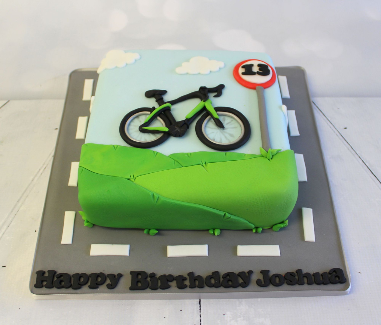 2D Bicycle Cake with Background scene