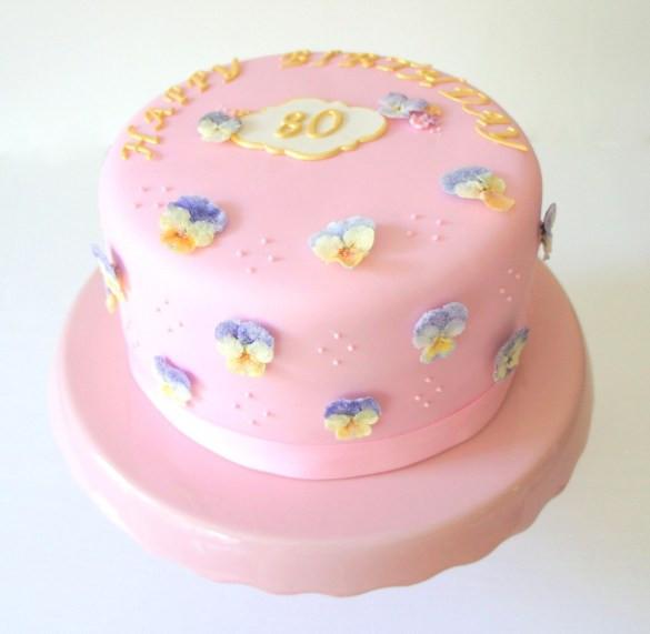 Pink Edible Flowers Cake