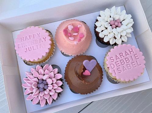 6 Personalised Birthday Cupcakes
