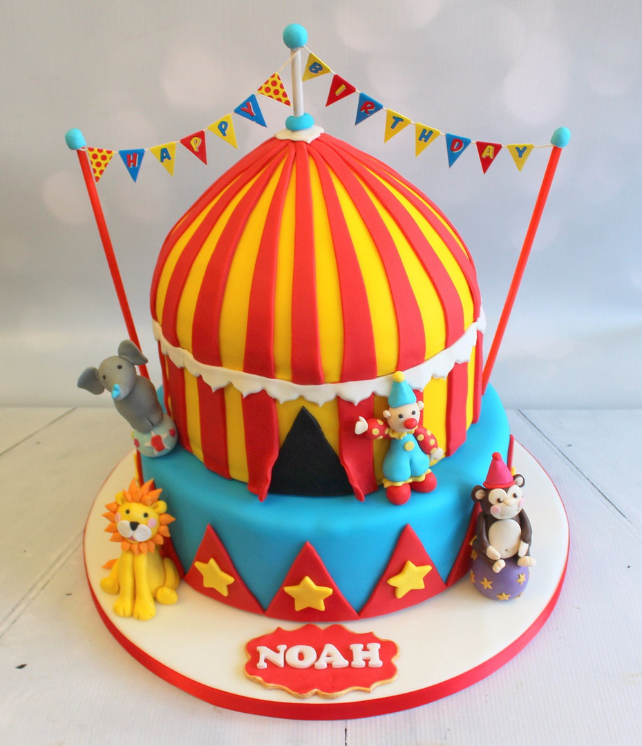 2 Tier Circus Cake with Animal Figures