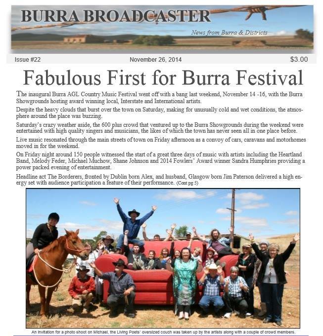 Pg 1 Burra Broadcaster November 26 2014.