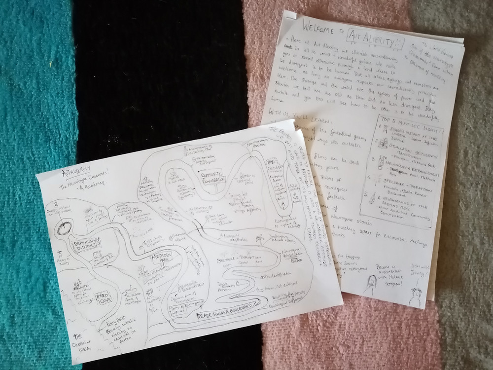 Two sheets of paper, one with a hand-drawn drawing of a roadmap, the other a hand-drawn brochure. They are lying on top of a striped multicoloured rug.