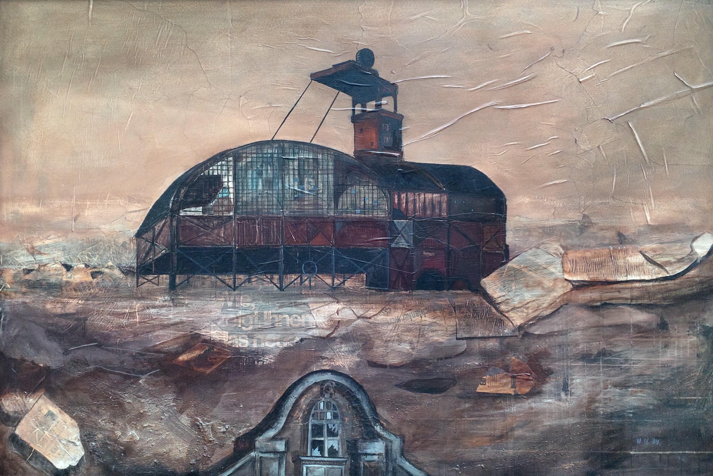 Öl mit Collage auf Hartfaser (1974)
