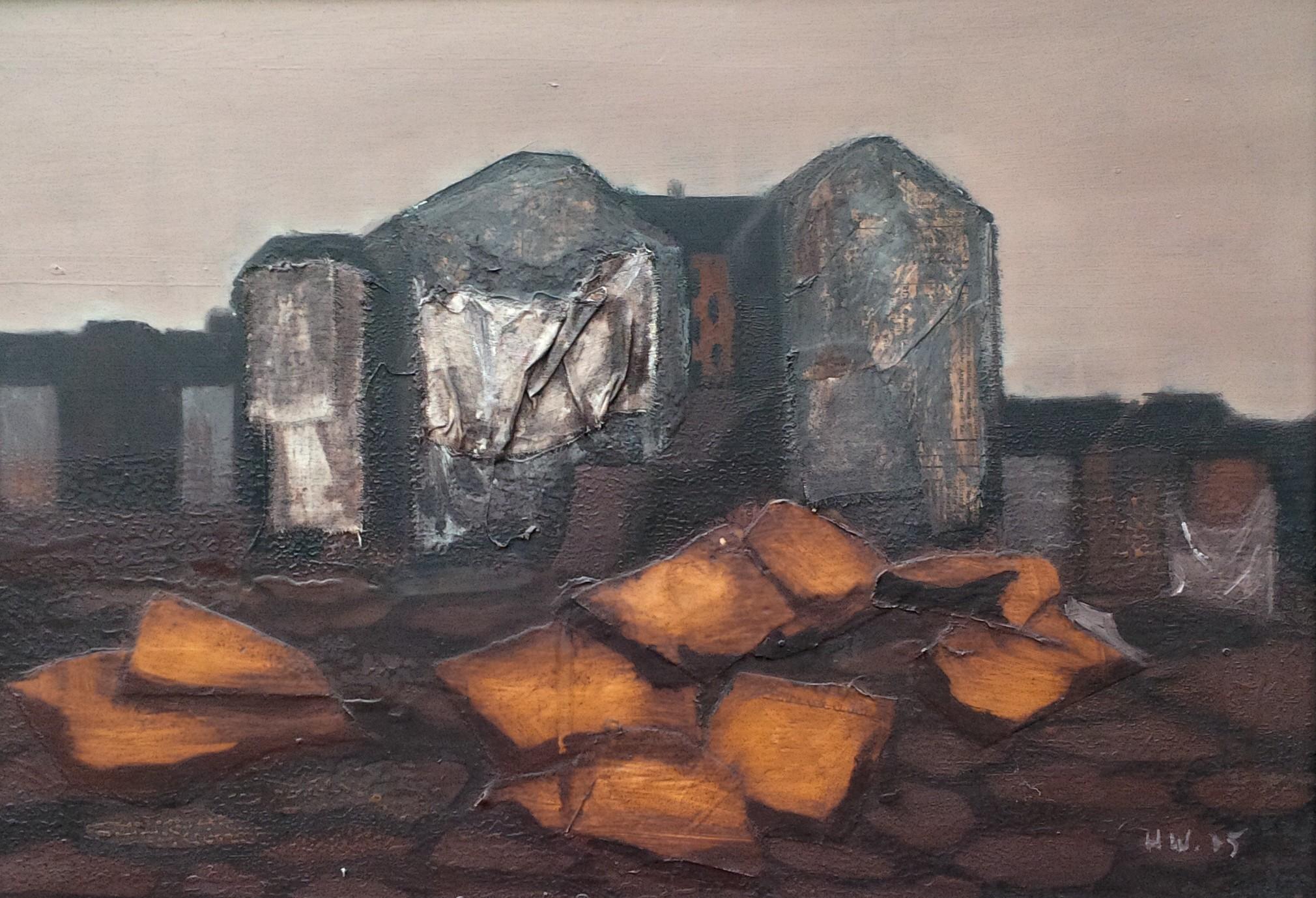 Öl mit Collage auf Hartfaser (1975)