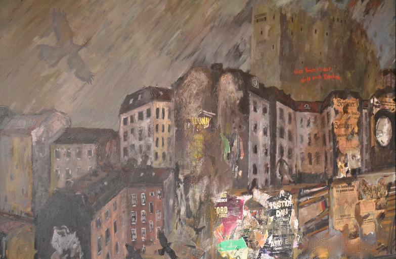 Öl mit Collage auf Hartfaser (1994)