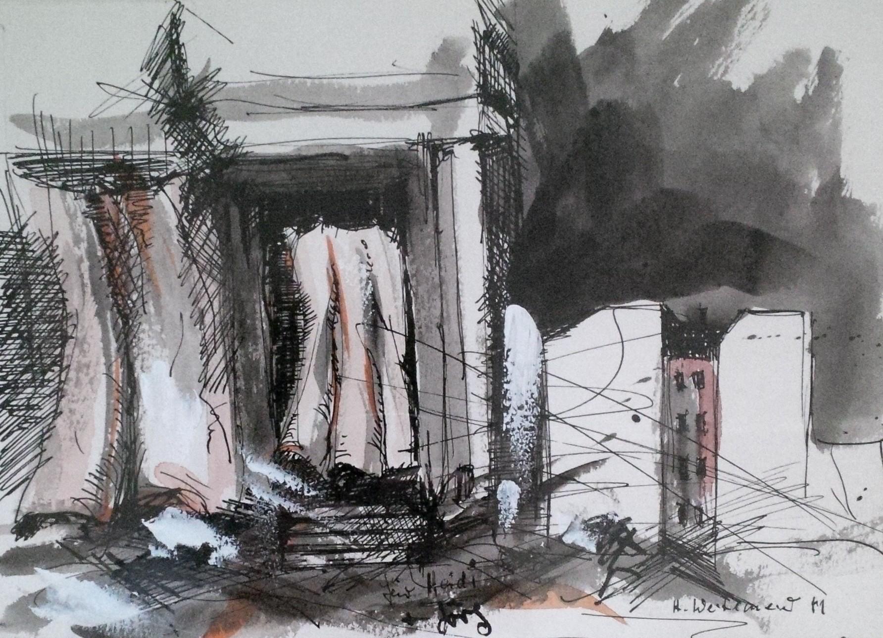 Zeichnung mit Gouache (1981)
