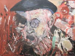 Öl mit Collage auf Hartfaser (1990)