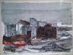 Federzeichnung mit Collage (1978)