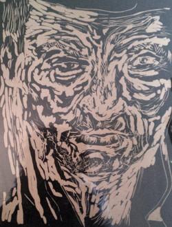 Porträt Linoldruck auf Papier (1974)