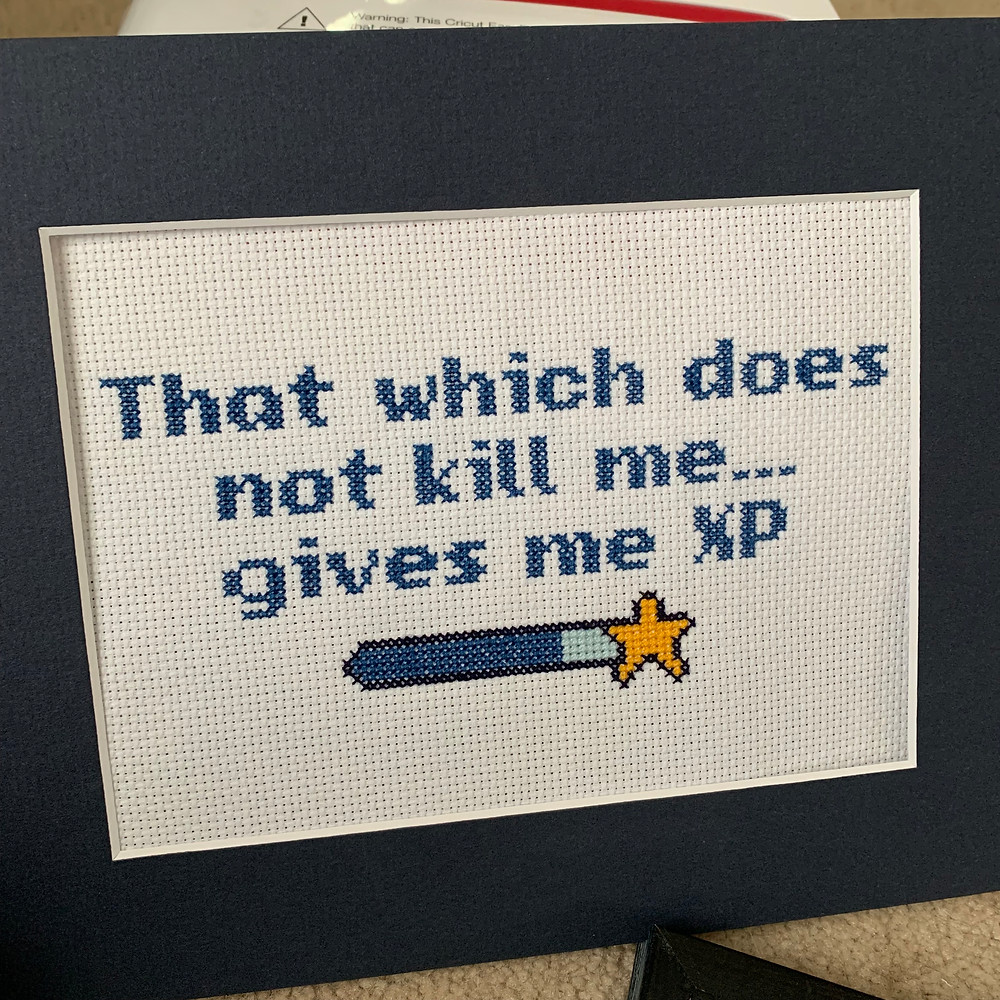 Experience points cross stitch