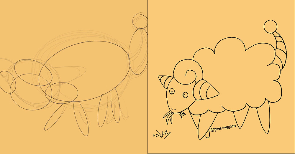 Comparing first sketch to completed digital work outline