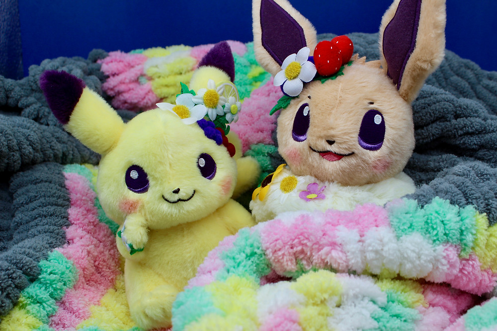 Easter Garden Party Pikachu and Eevee Plush Pokemon Center