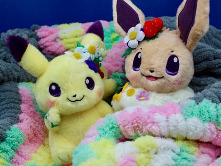 Pokémon inspired hand knit blanket