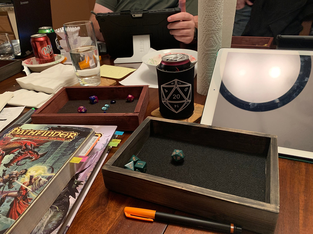 Dungeons and Dragons table setup with custom made doozie