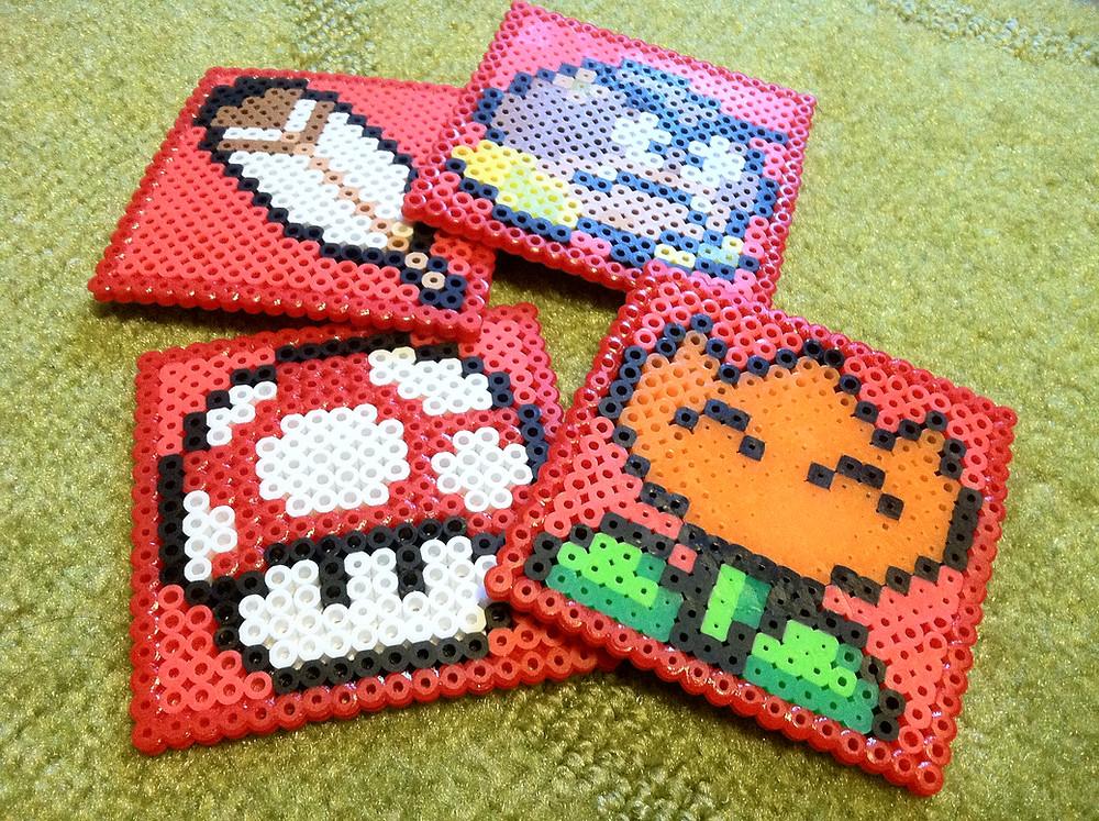 Super Mario DIY perler bead coasters