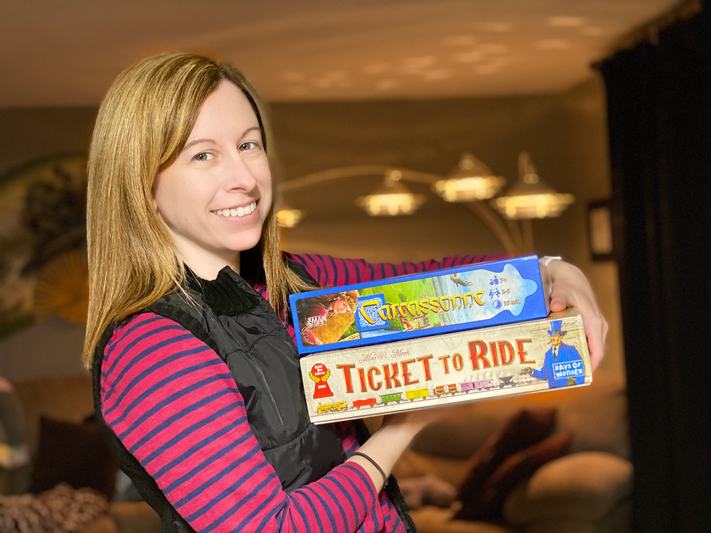 Tabletop games Ticket to Ride and Carcassonne