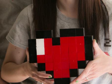 DIY pixel heart prop