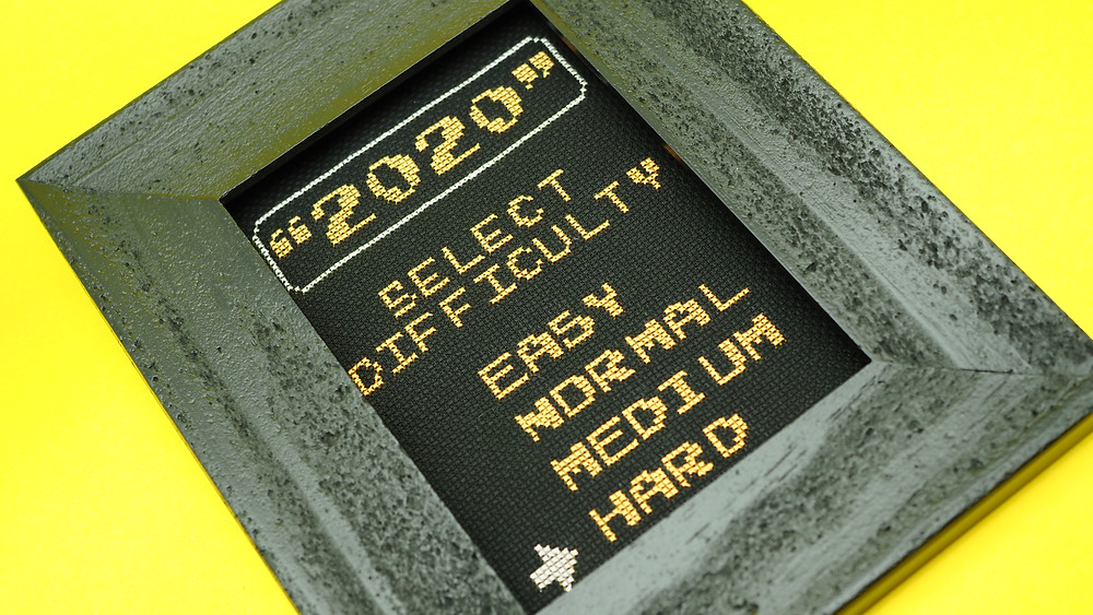 2020 Choose Your Difficulty Pandemic Video Game Cross Stitch