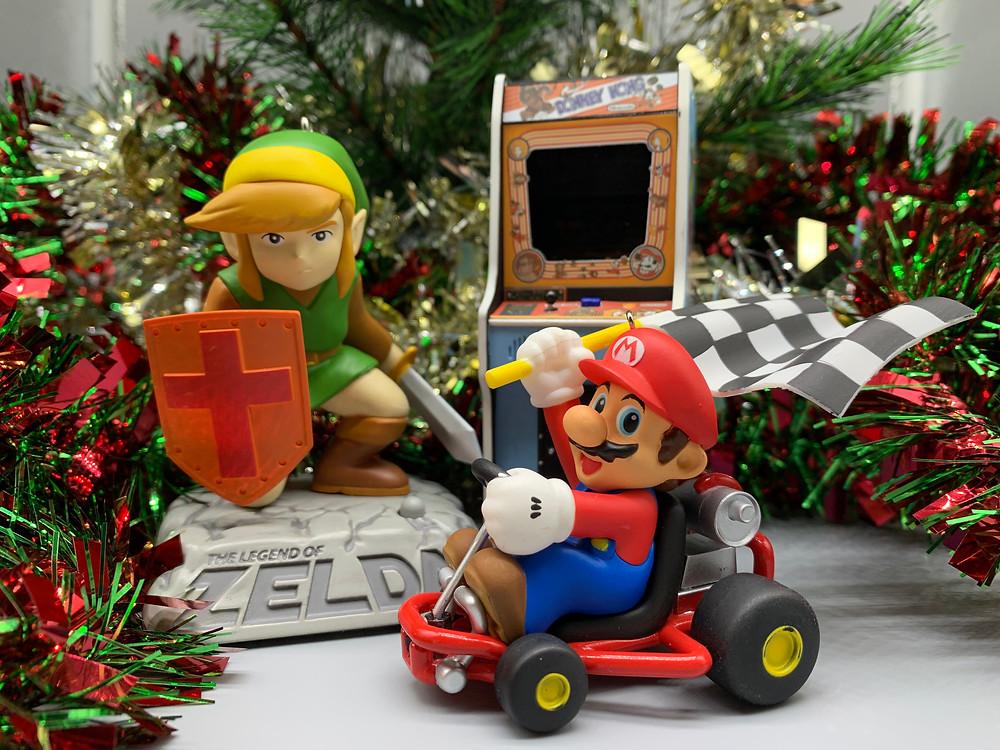 2018 Hallmark ornaments - Legend of Zelda, Donkey Kong arcade machine, Mario Kart