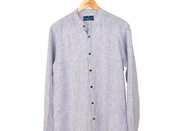 100% Linen Collarless Shirt - Navy Stripe