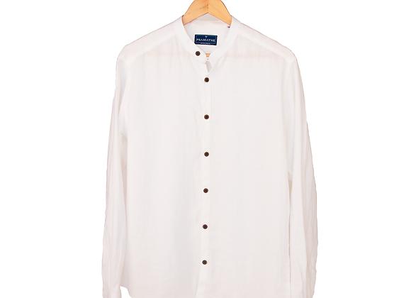 100% Linen Collarless Shirt - White