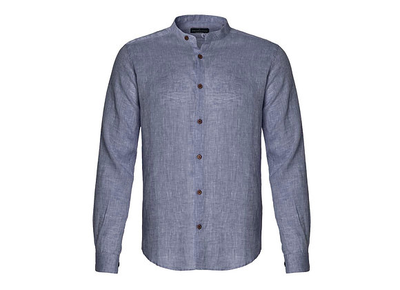 100%  Linen Collarless Shirt - Navy Tonal