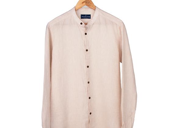 100% Linen Collarless Shirt - Off-White