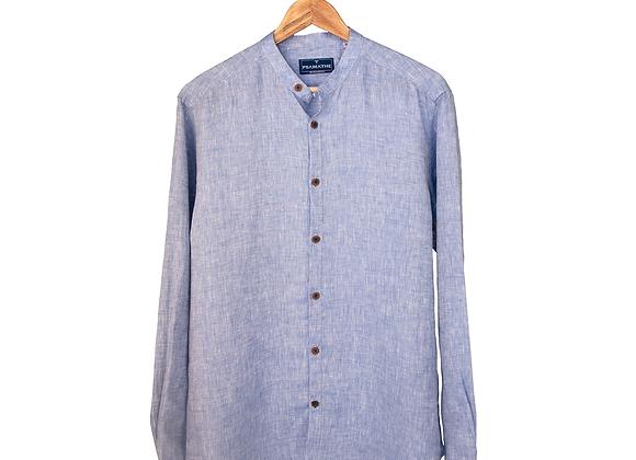 100% Linen Collarless Shirt -Blue Tonal