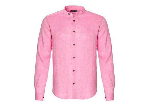 100% Linen Collarless Shirt - Pink