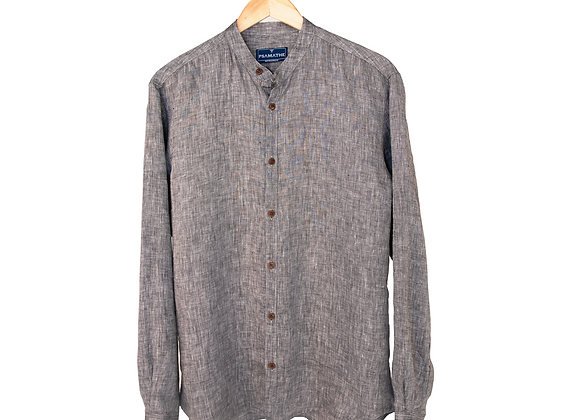 100% Linen Collarless Shirt -Black Tonal